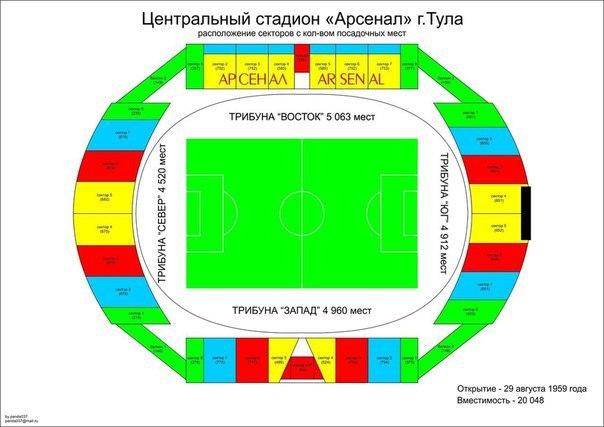 "Схема стадиона ""Арсенал"" в г."