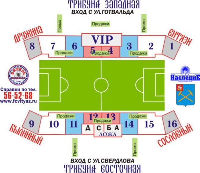 "Схема стадиона ""Труд"" в г."
