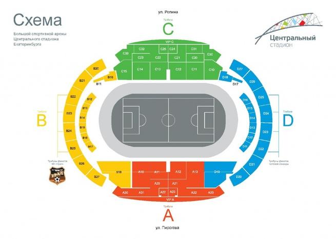 Схема стадиона по секторам: